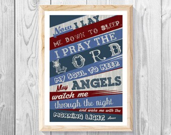 "Now I Lay Me Down to Sleep Prayer – Baby boy Bedroom - Child, Baby Boy - Maroon & Blue- Christian Art, Baptism Gift, Measures 11""x 17""."