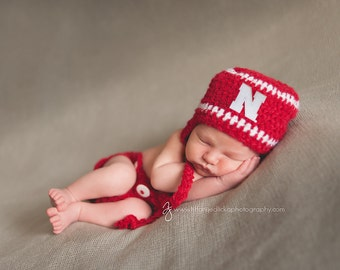 Nebraska Huskers Outfit - Hat and Diaper Cover - newborn baby infant toddler child kids Husker hat Cornhuskers photo prop baby shower gift