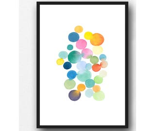 Colorful Abstract Art, Watercolor Art, Colorful home decor, Colorful Wall Art for Nursery, Colorful Abstract Print