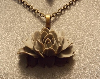 Gray Victorian Rose Pendant Necklace