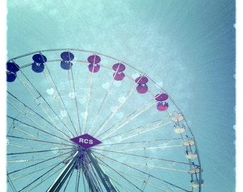 Ferris Wheel county fair bokeh hearts color photograph bright teal romance love nursery valentines