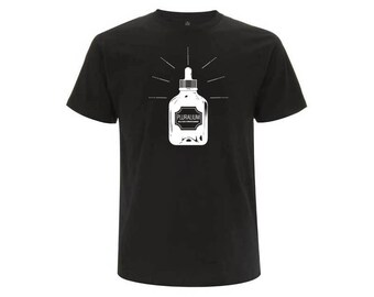 Black unisex organic cotton T-shirt LOTION PLURALIUM gift fathers day birthday Christmas Valentine's day