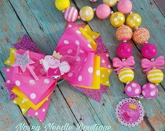 Peppa Pig hair bow, Peppa Pig hair bows, Peppa Pig bow, Peppa Pig necklace, Peppa Pig bubblegum necklace, Peppa pig birthday, Peppa pig