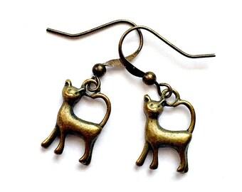Bronze Cat Earrings, Pierced Antique Bronze Cat Earrings, Handmade Cat Earrings, Dangling Bronze Cat Earrings, Dark Gold Cat Earrings