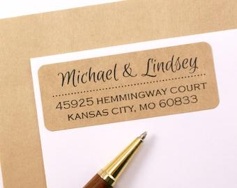 Custom Address Labels with Dotted Line Break || custom return address labels || stationery, wedding invitations, save the date