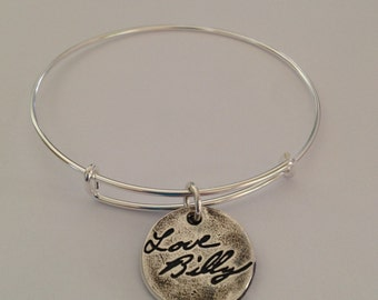 Actual Handwriting Bracelet Sterling Silver Expandable Bangle - Made to order