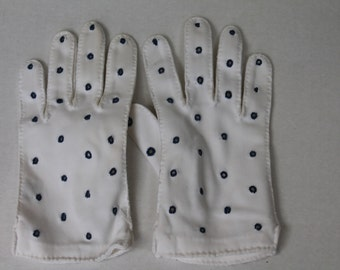 Vintage Gloves White with Blue Peep Holes