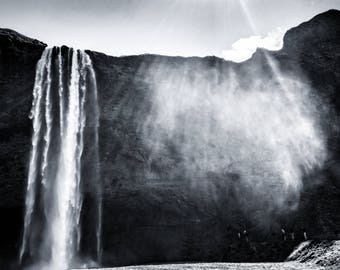 Print - Waterfall, Iceland (black and white)