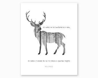 WOODLANDS NURSERY, Bible Verse Printable, Psalm 18:33, He Makes Me Surefooted as a Deer, Rustic Nursery, Baby Shower Gift, Instant Download