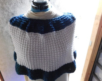 Blue and White Hand Knitted Capelet