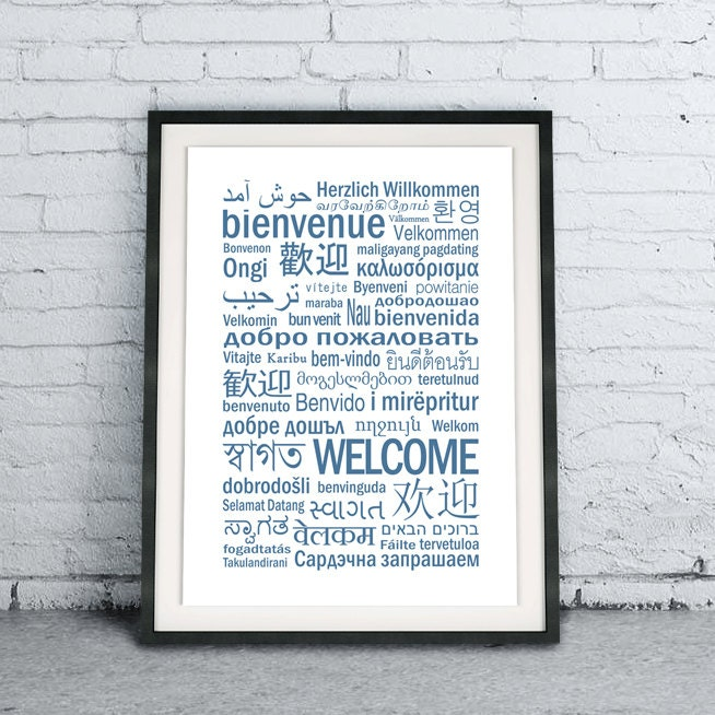 welcome different languages printable household art print 🔎zoom