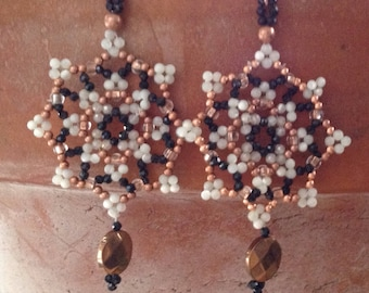 Semi Precious hand beaded mandala earrings jet and copper