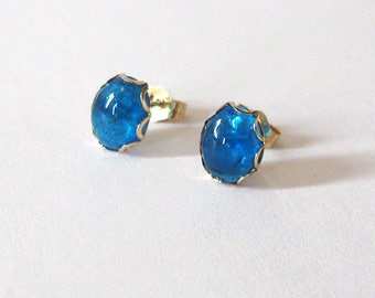 Neon Apatite Gold Filled Studs, Blue Gemstone Post Earrings, Oval 8x6mm Cabochons, Minimalist Style