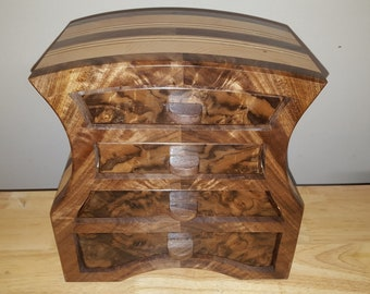 Bandsaw box made from claro walnut, walnut burl veneer, pine,and plywood