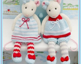 2 TEAROOM Mice Toy Knitting Pattern/ MJT Pdf Mouse Knitting Pattern/ INSTANT Download