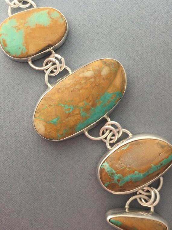 Handmade, sterling silver, Boulder Ribbon Turquoise, Bracelet