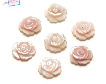 """2 beads half hole Pearl """"flower 10 x 3 mm"""", pink"""