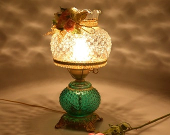 Decorated Fenton Style Vintage Table Lamp Electric Hurricane Lamp Brass Glass Ornate Accent Lamp Shabby Cottage Chic Home Decor Lamp
