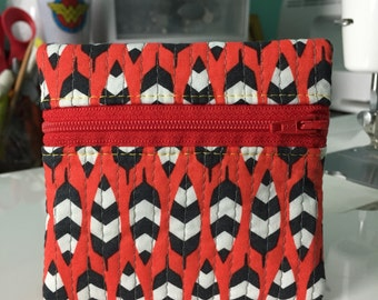 Quilted Mini Zip in red feathers   Handmade Coin Purse