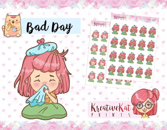 Bad Planner bad days planner sticker sick kawaii stickers bed