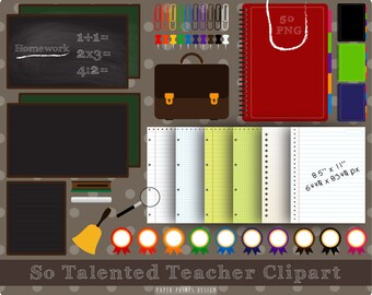 50 PNG School clipart, teacher clipart, school frames, back to school, teacher clip art, chalkboard digital, notebook school digital paper