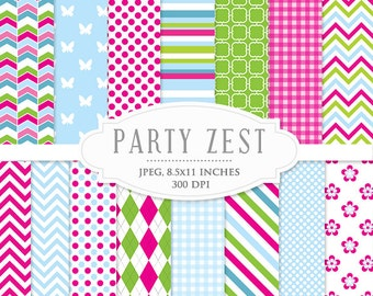 Digital papers - chevron, polka dots, stripes, flowers, pink, blue, green, for scrapbooking, digital cards, invites, personal commercial use