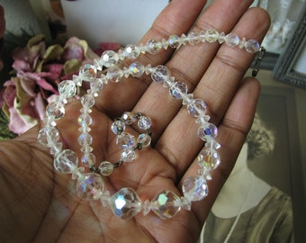 Vintage Cut Crystal Necklace, Crystal Beaded Necklace, Beaded Choker, Wedding Necklace, Bridal necklace, Wedding Choker, Faceted Crystals