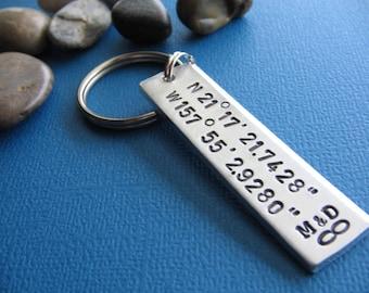 Custom Coordinates Keychain, GPS Latitude Longitude, Coordinate Key Chain, Stamped Keychain, Boyfriend Gift, Girlfriend gift, Couples