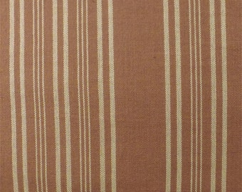 Sienna Brown Sand Dune Cotton Stripe Home Decorating Fabric, Fabric By The Yard