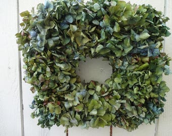 Hydrangea Wreath Square Wreath Natural Wreath  Dried Wreath  Shabby Chic  Home Decor  Wall Decor  Hostess Gift  Wreath