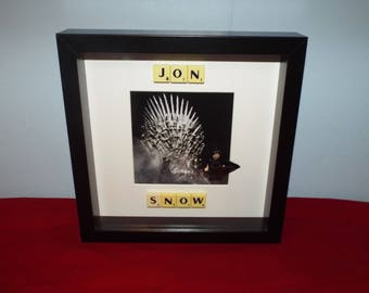 Jon Snow Game of Thrones Custom mini figure and Scrabble Frame