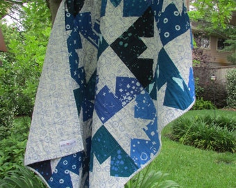 Geometric Quilt | Modern Quilt Throw | Shades of Blue Quilt | Starry Nights Quilt | Lap Quilt