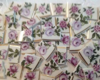 Broken China mosaic tiles~~Handcut Tiles~~PReTTy PURPLE FLoraLs