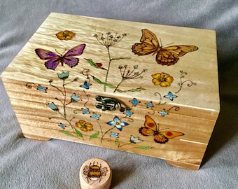 Butterfly Floral Jewellery box with tray, personalised large wooden keepsake box with unique pyrography burn.