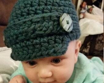 Baby Boy Crochet Newsboy Hat - baby hat - crochet hat - handmade - baby boy - baby shower gift - newborn