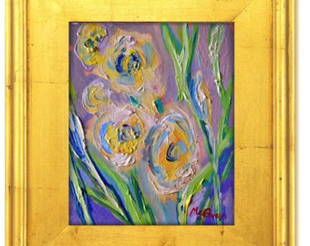 Claire McElveen Original Small Floral Oil Painting 8 x 10 Southern Abstract Impresssionism