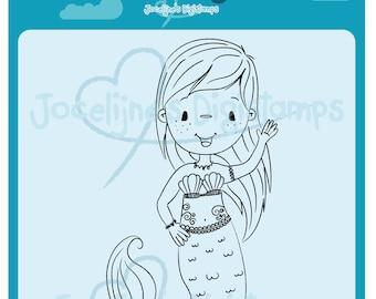 Emmy Mermaid Waving • 300 PPI Digital Stamp • Digistamp • Instant Download