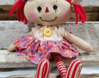 Raggedy Annie Primitive Dolls Lil Candi Annie Raggedy Ann Doll Multi Color Polka Dot Annie Doll