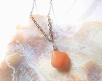 Georgia Peach Moonstone Teardrop Necklace
