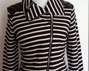 Moto jacket, M, black and white jacket, striped bomber, cropped jacket, sporty jacket, bomber jacket, motorcyle jacket
