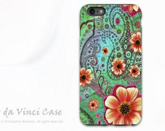 iPhone 6s Plus Case - Green Paisley Case for iPhone 6 Plus - Paisley Paradise - Green and Orange Floral iPhone 6sPlus Tough Case