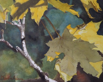 "Maple Leaf art watercolor painting print by Martha Adams, 8""x10"", watercolor, watercolor painting, watercolor leaves, tree"