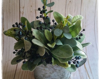 Tin Water Can with Lambs Ear and Blueberries