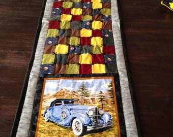 Antique car quilted table runner