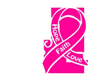 Decal - Heart And Cancer Ribbon