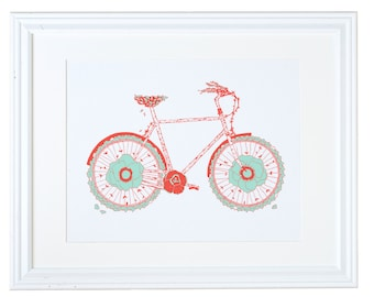 Garden Bicycle Screenprinted Poster