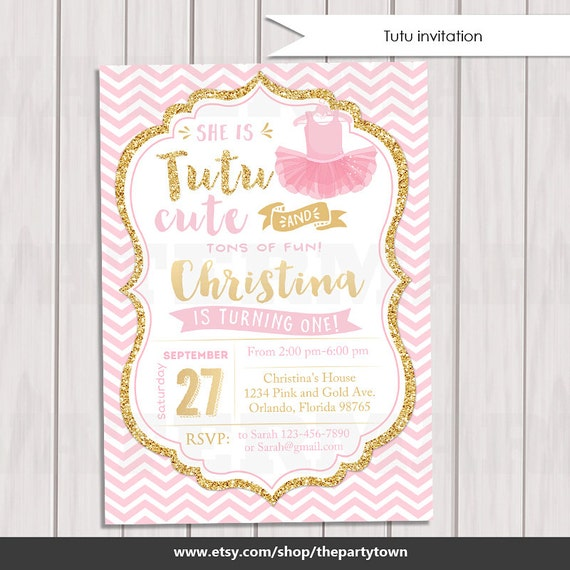 Tutu pink and gold invitation ballerina gold glitter like this item filmwisefo Image collections