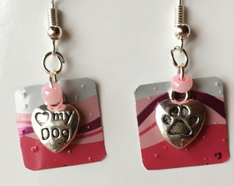 dog  recycled can earrings