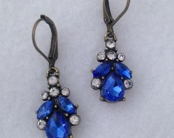Rhinestone earrings, cobalt blue and white rhinestone drop earrings, rhinestone dangle earrings, special occasion earrings