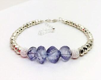 Blue Quartz Silver Pyrite Sterling Silver Bracelet Blue Gemstone Gift Blue and Silver Minimalist Bracelet Unique Gift for Her Birthday Gift